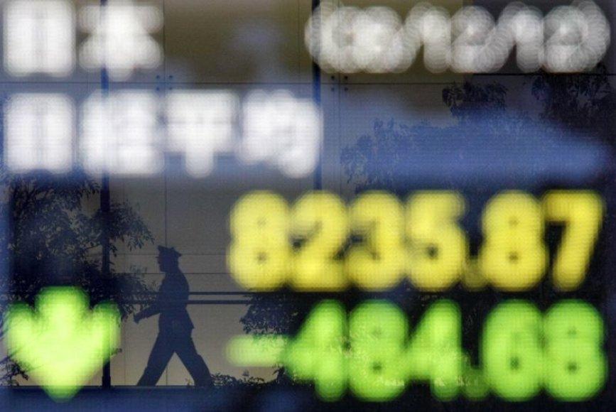"""Japonijos """"Nikkei"""" indeksas smuko 5,5 procentais."""