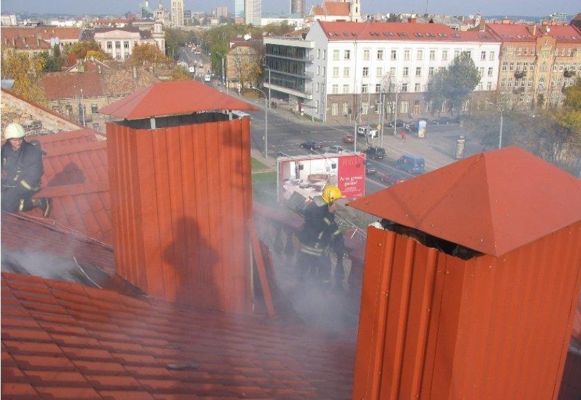 Asociatyvinė iliustracija: ugniagesiai ant stogo