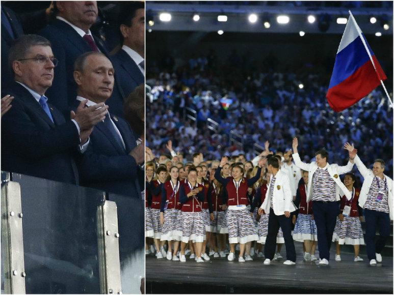 Vladimiras Putinas stebi ceremoniją