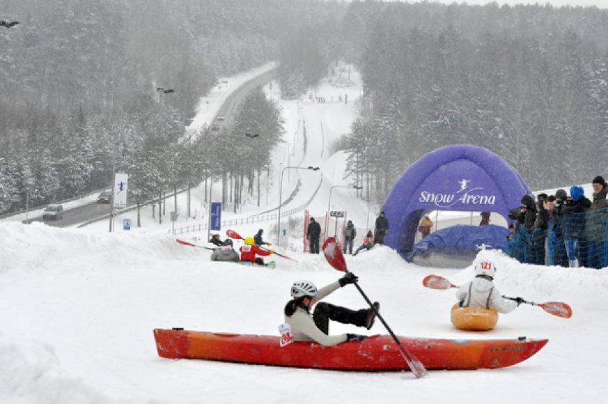 """Varžybose """"Snow Kayak 2014"""" bus nauja kliūtis"""