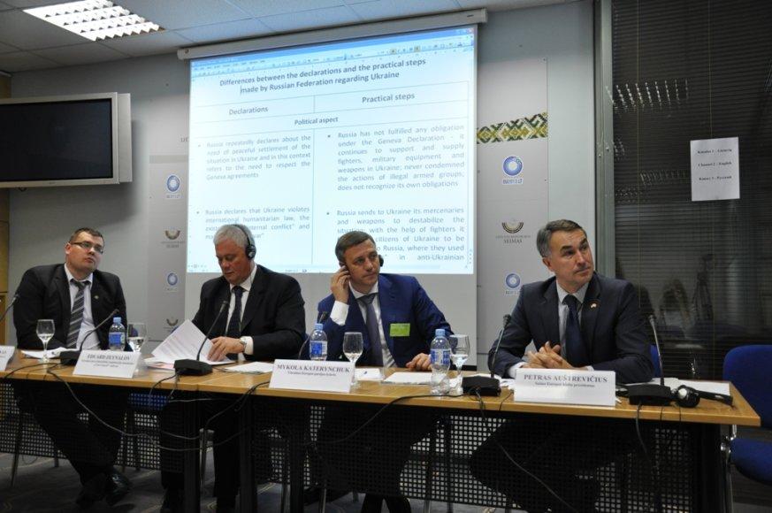Diskusija Seime: (iš dešinės) P.Auštrevičius, M.Katerynčiukas, E.Zeinalovas ir L.Kasčiūnas