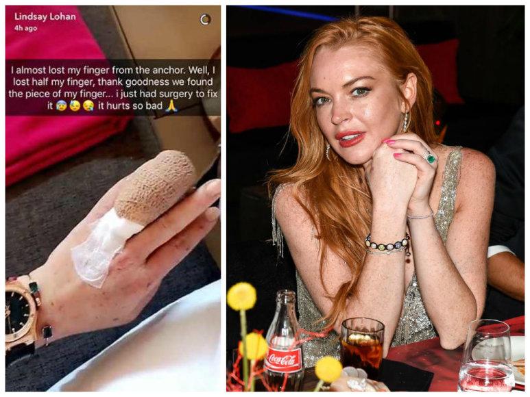 Bandydama prišvartuoti laivą Lindsay Lohan vos neprarado piršto