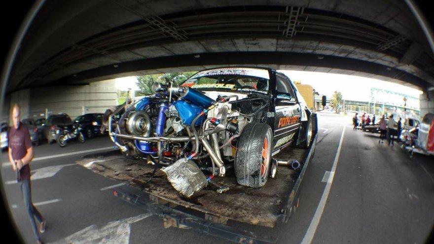 Ervino Arnaszuso automobilis po avarijos