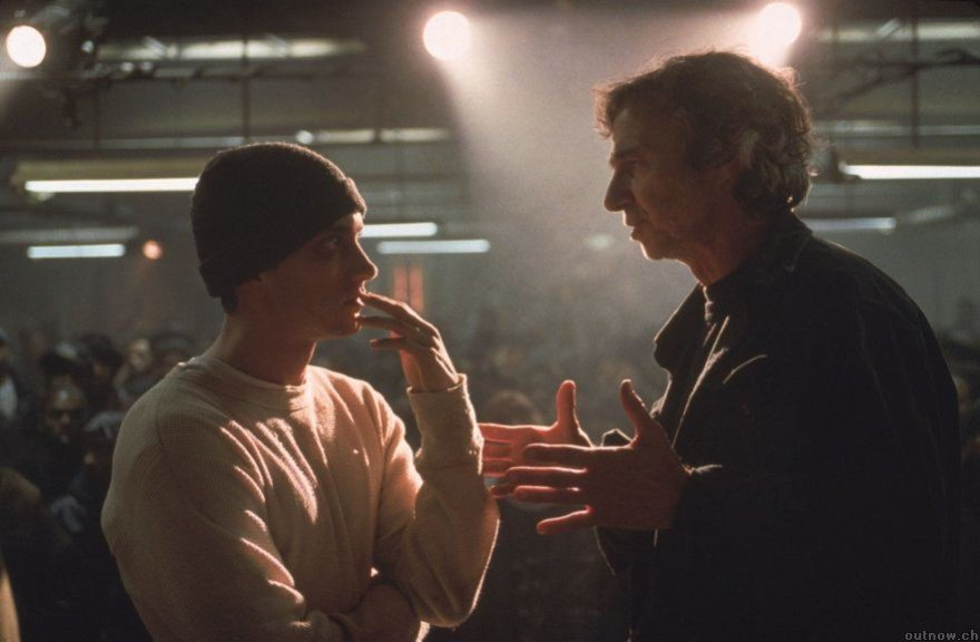 """Eminemas ir Curtis Hansonas filmuojant """"8 mylią"""""""