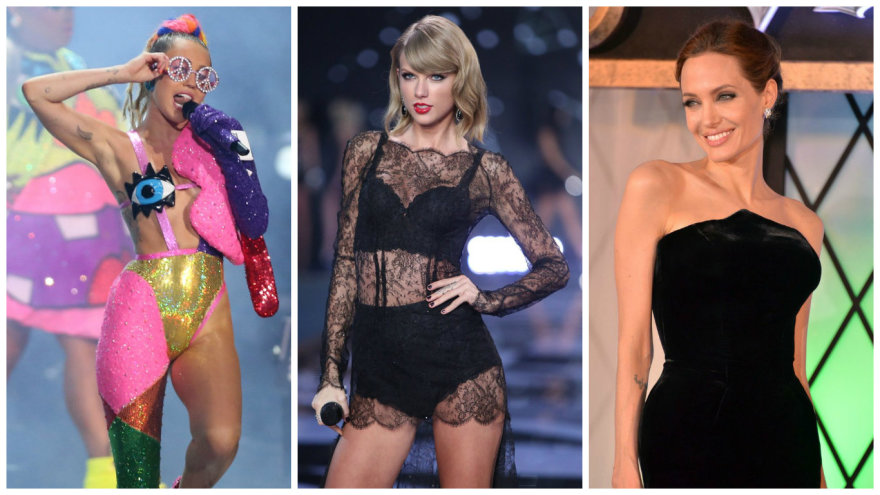 Miley Cyrus, Taylor Swift ir Angelina Jolie