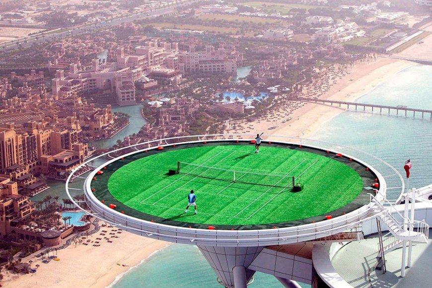 Aukščiausias pasaulyje teniso kortas yra įrengtas Dubajuje