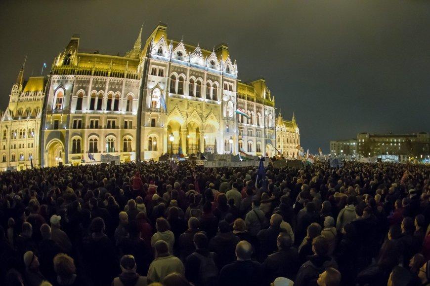 Demonstrantai Budapešte