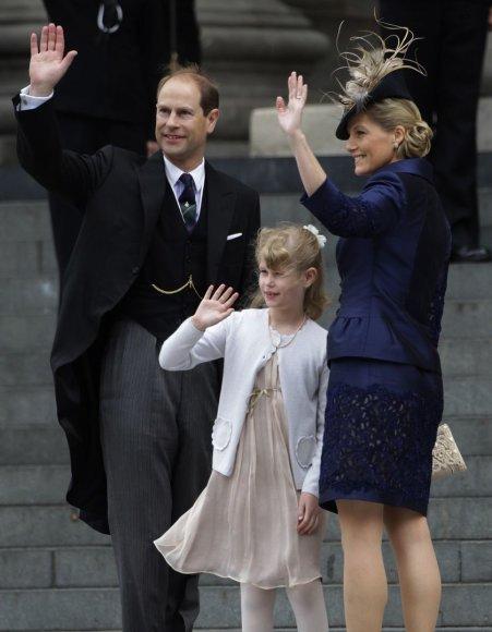 Princas Edwardas su žmona Vesekso grafiene Sophie ir dukra ledi Louise