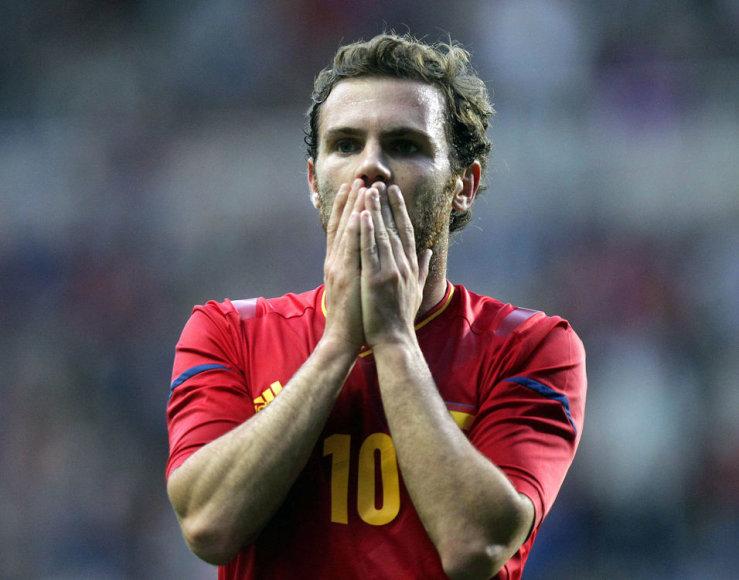 Olimpinės Ispanijos rinktinės futbolininko Juano Matos reakcija.