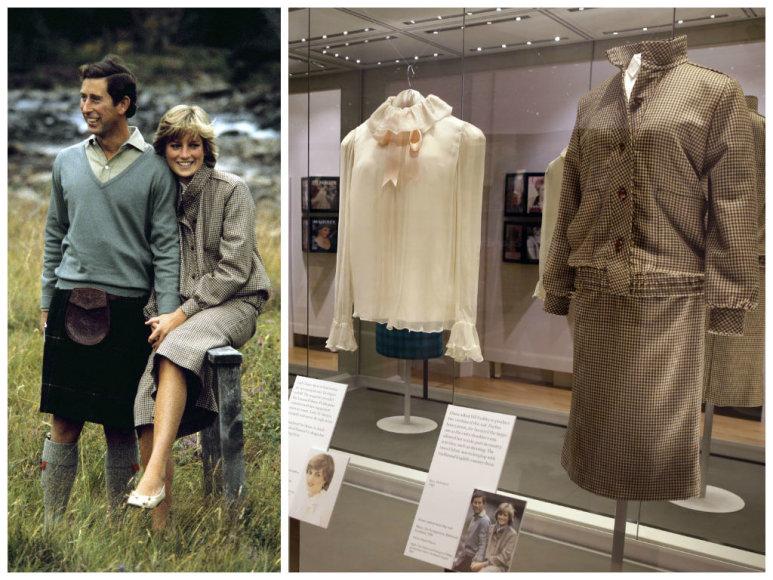 """Princas Charles ir princesė Diana 1981 m. per savo medaus mėnesį Škotijoje. Dešinėje – parodos """"Diana. Jos mados istorija"""" eksponatai"""