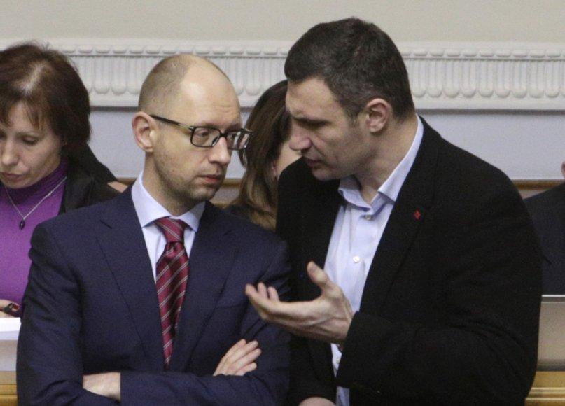 Arsenijus Jaceniukas ir Vitalijus Klyčko Ukrainos Aukščiausiosios Rados sesijoje