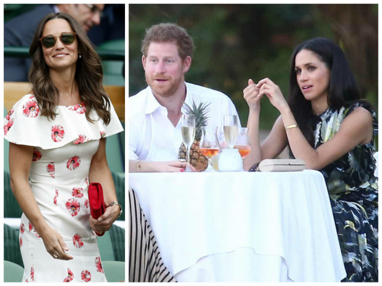 Pippa Middleton ir princas Harry su Meghan Markle