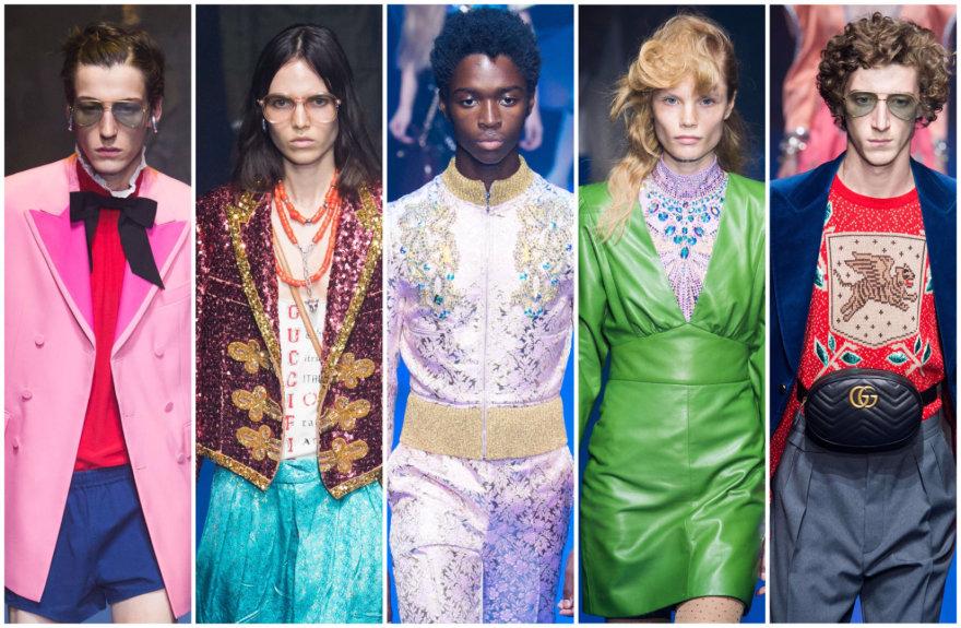 """""""Gucci"""" 2018 m. pavasario ir vasaros kolekcijos modeliai"""