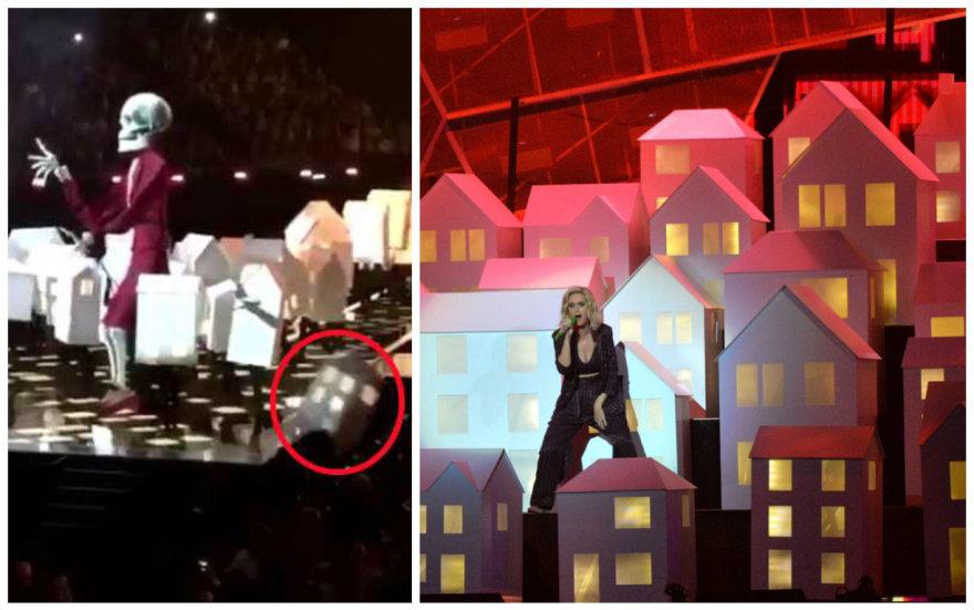 Per Katy Perry šou Britų muzikos apdovanojimuose jos šokėjas nukrito nuo scenos