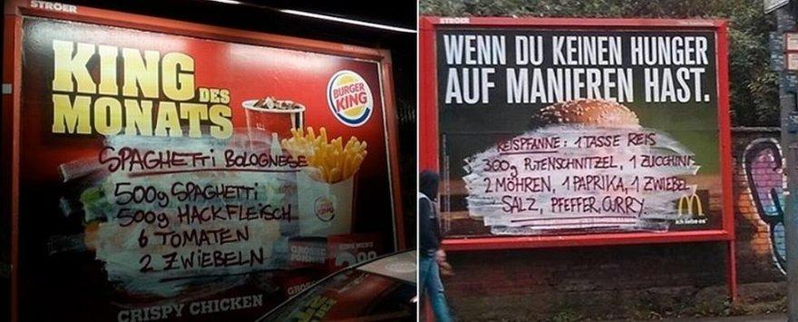"""Vokiškojo """"brandalizmo"""" atvejai: ant greito maisto reklamų kiti receptai"""
