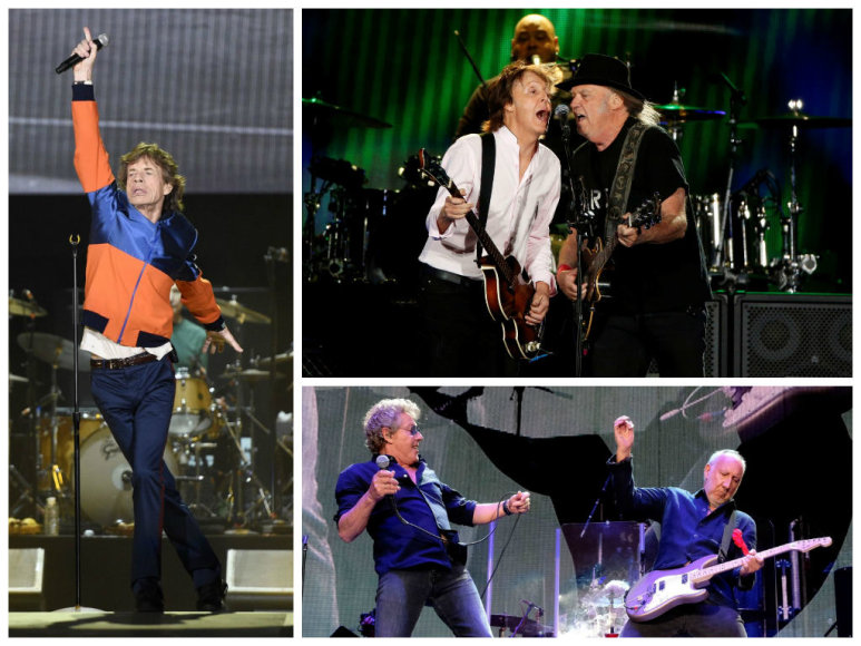 """Mickas Jaggeris iš """"The Rolling Stones"""", Paulas McCartney ir Neilas Youngas bei """"The Who"""""""