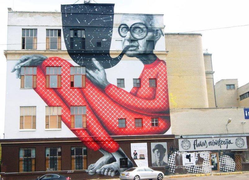 """""""Fluxus ministerija"""" Kaune veikė pusantrų metų. Šiuo metu likęs tik pastatą puošiantis piešinys."""