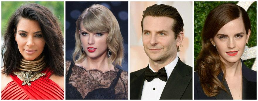 Kim Kardashian, Taylo Swift, Bradley Cooperis ir Emma Watson