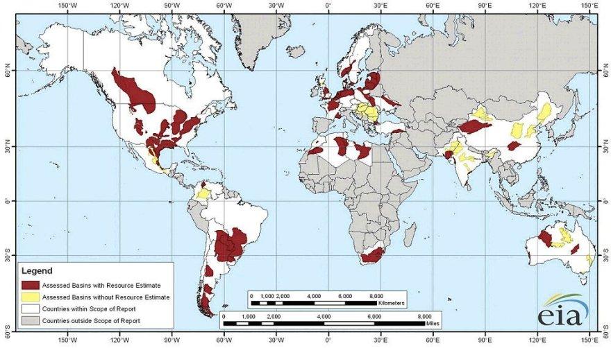 Skalūnų dujų telkiniai pasaulyje