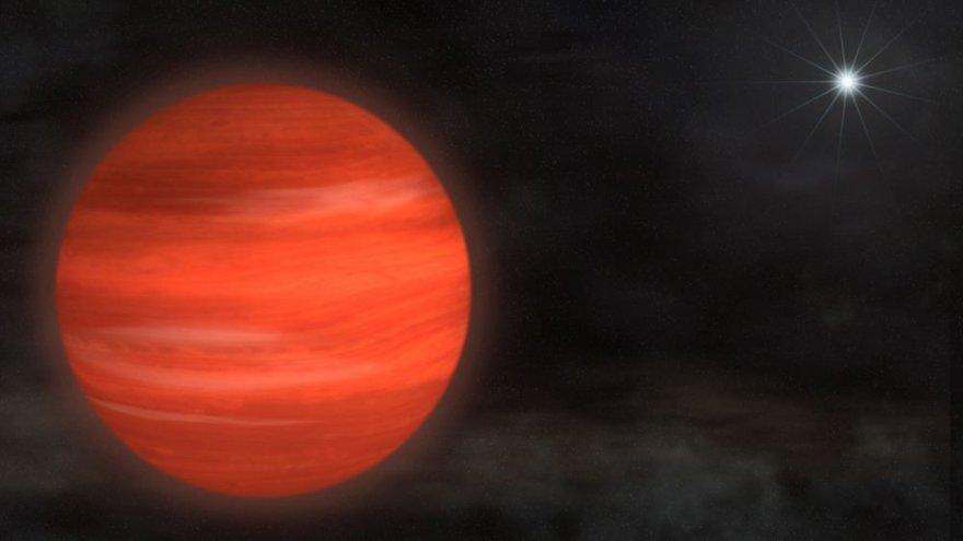 13 kartų už Jupiterį didesnė planeta Kappa Andromedae b menininko akimis.