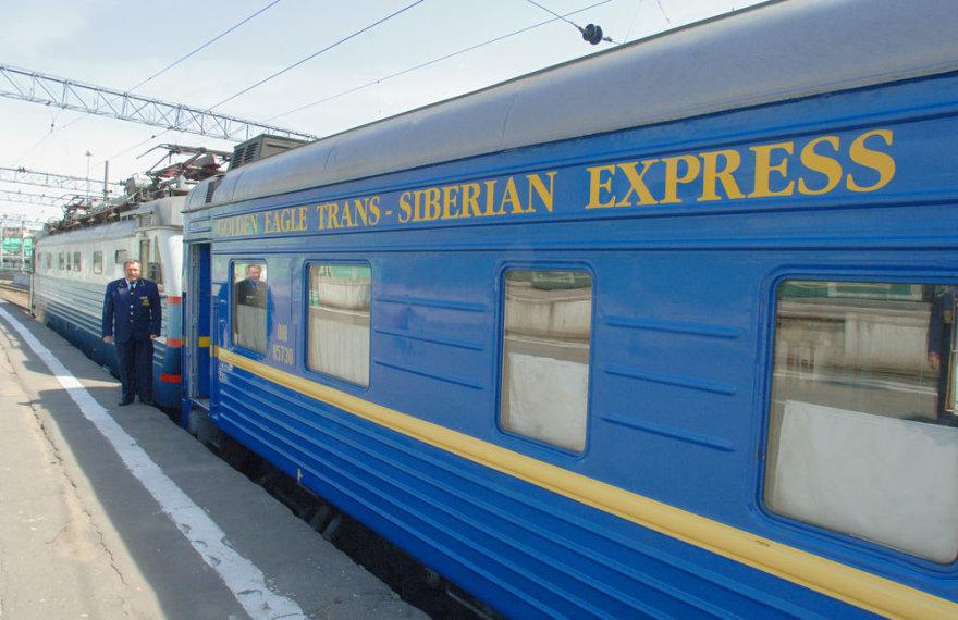Trans-Siberian traukinys vežantis iš Maskvos į Vladivostoką per visą Rusiją