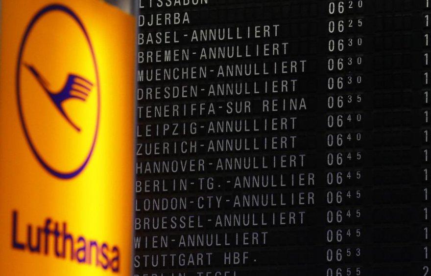 """Atšaukti """"Lufthansa"""" skrydžiai"""