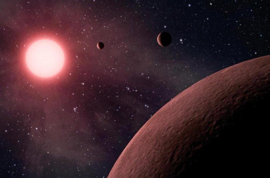 Raudonoji nykštukė ir aplink ją skriejančios planetos