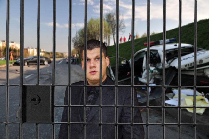 Fotomontažas: avariją sukėlęs Arnas Tumėnas už grotų