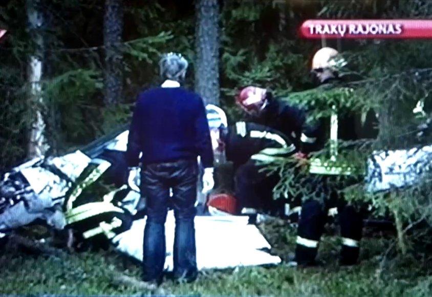 Lėktuvo avarijos vietoje