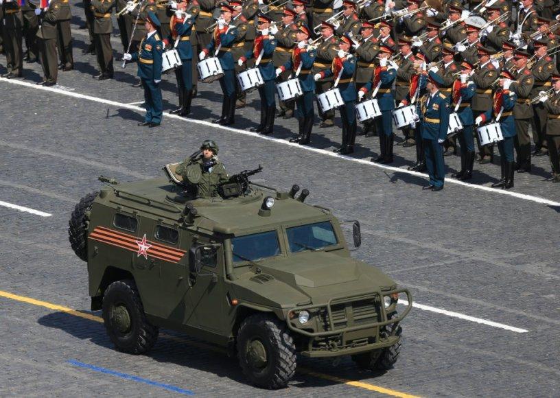 """Šarvuotis """"Tigr"""". Karinis paradas Maskvos Raudonojoje aikštėje"""