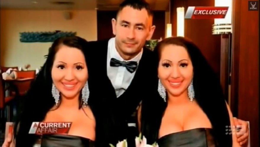 Dvynės Anna ir Lucy DeCinque su vaikinu Benu Byrne'u