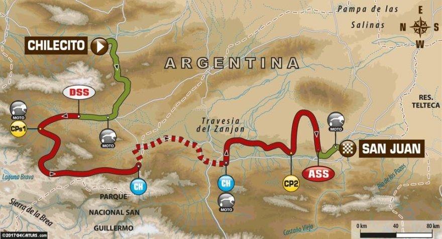 Dešimtas Dakaro greičio ruožas iš Čilesito į San Chuaną
