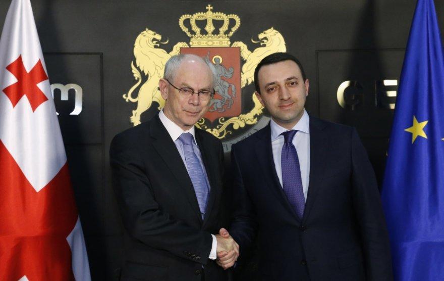 ES Tarybos pirmininkas Hermanas Van Rompuy ir Gruzijos premjeras Irakly Garibashvilis