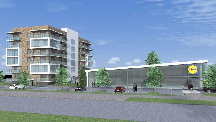 """Taip atrodys """"Lidl"""" projektuojamas daugiabutis ir parduotuvė Šiaurės prospekte, Klaipėdoje"""
