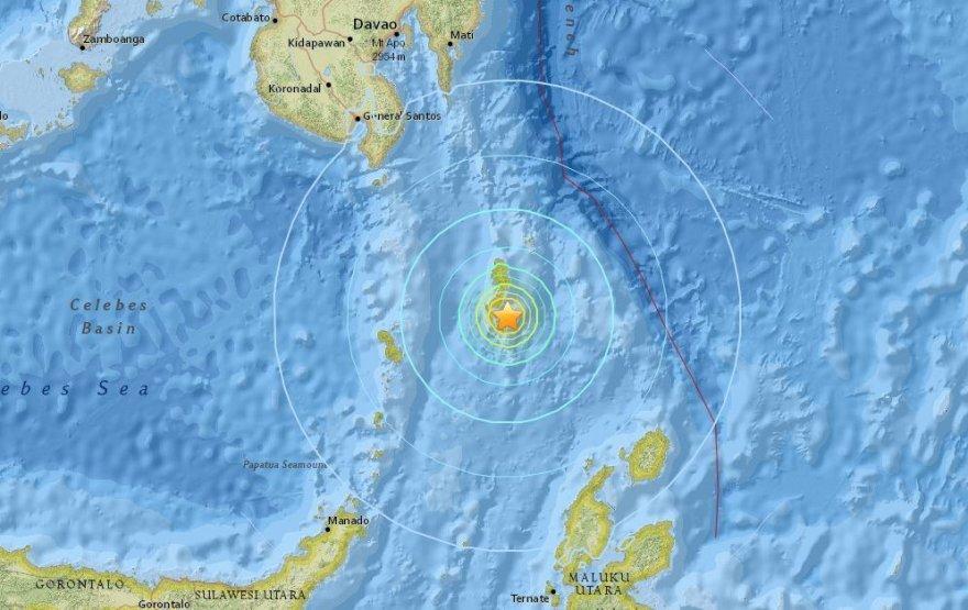 Žemės drebėjimo vieta žemėlapyje