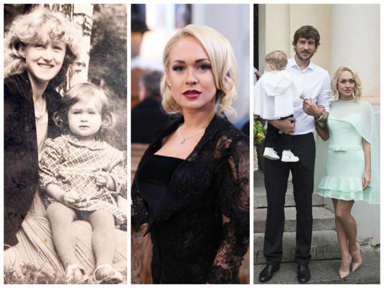 Oksana Pikul-Jasaitienė su mama (kairėje) ir su šeima: vyru Simu bei sūnumi Dominyku