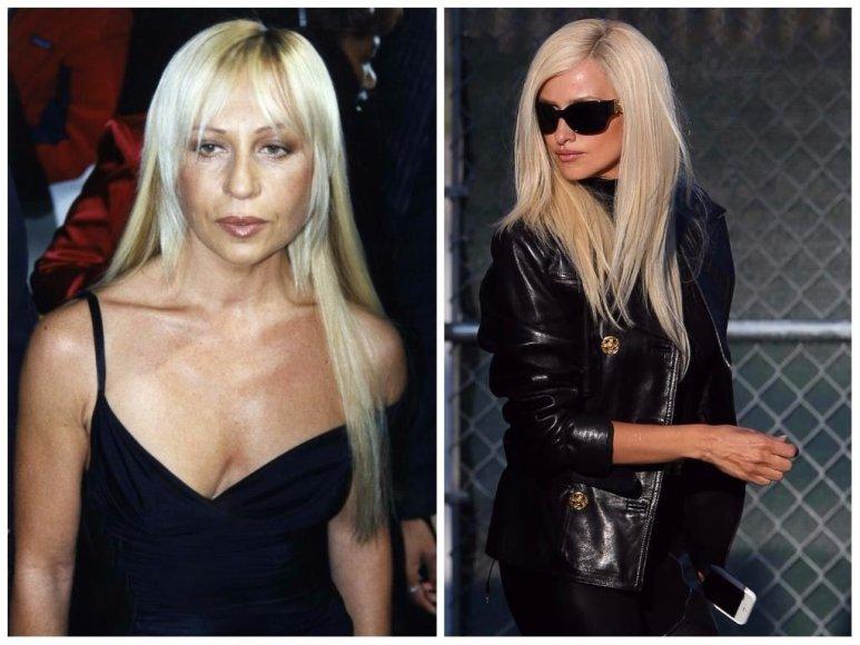 Donatella Versace 1997 metais ir ją vaidinanti Penelope Cruz