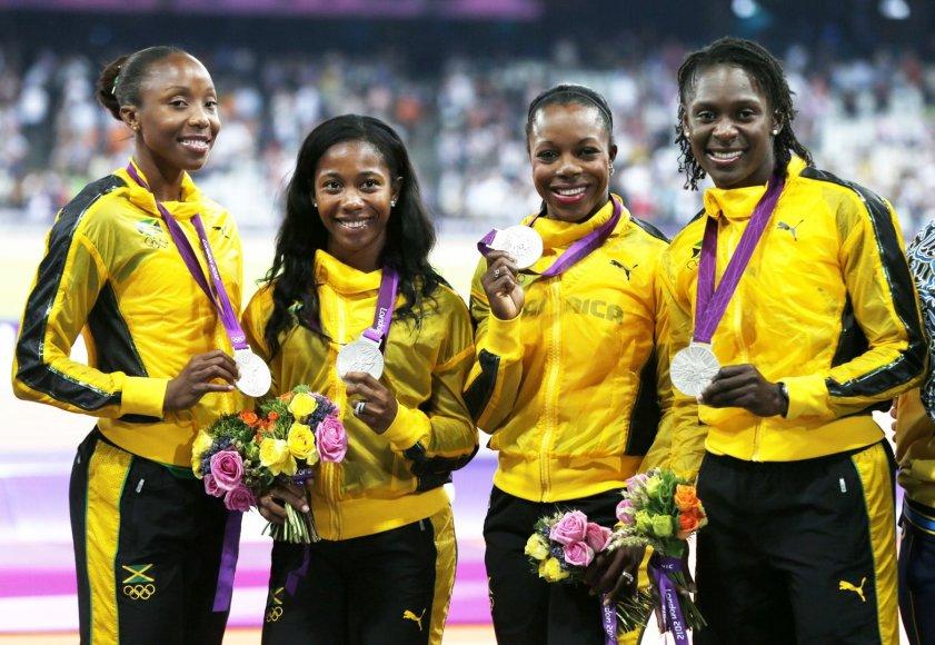 Londono olimpinės žaidynės (iš kairės): Sheron Simpson, Shelly-Ann Fraser-Pryce, Veronica Campbell-Brown ir Kerron Stewart