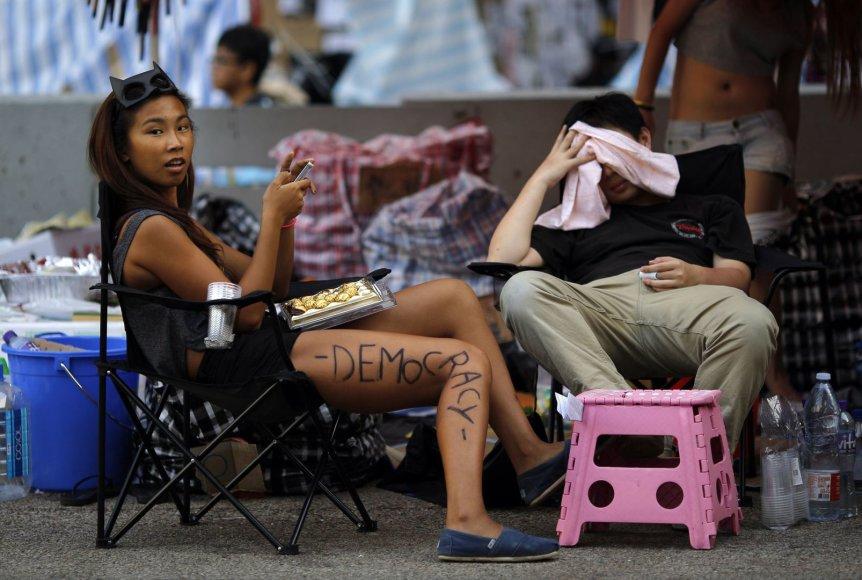 Protestuotoja Honkonge