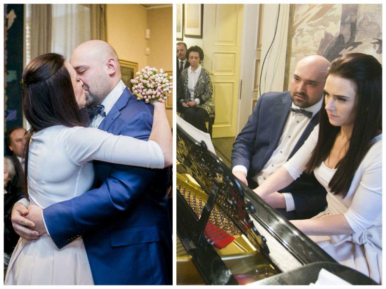 Justas Šervenikas ir  Roberta Mikučionytė savo vestuvių dieną