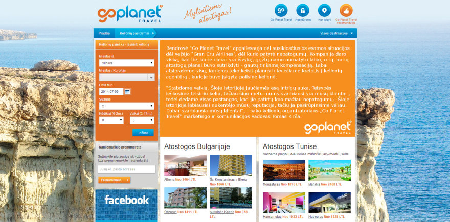 """Go Planet Travel"" interneto puslapis"