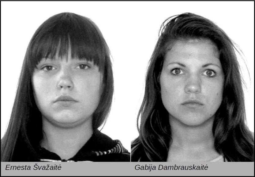 Dingusios nepilnametės  Ernesta Švažaitė (kairėje) ir  Gabija Dambrauskaitė.