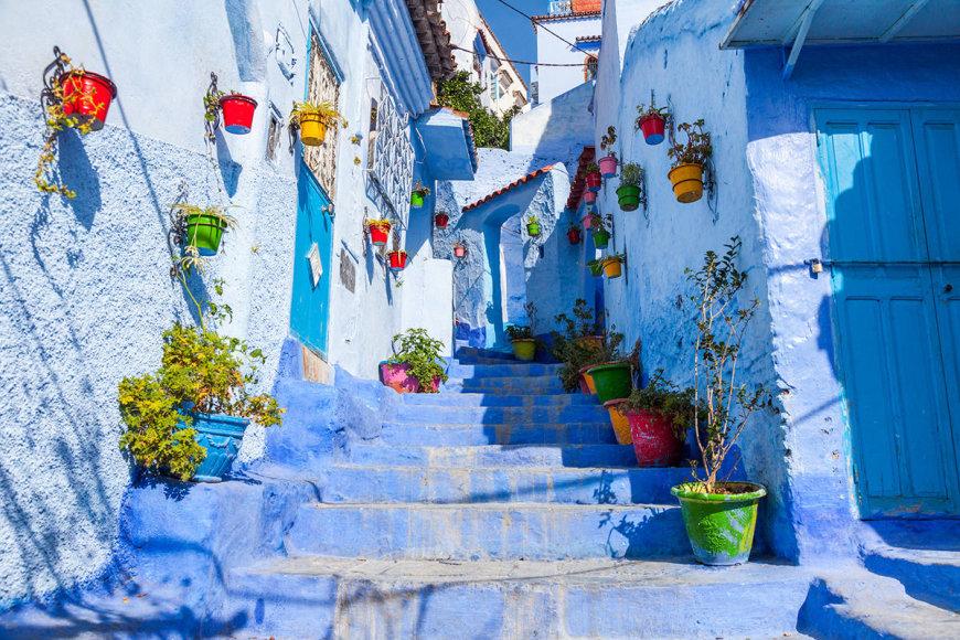 Šefšauenas – turistų ypatingai pamėgtas miestas šiaurės Maroke