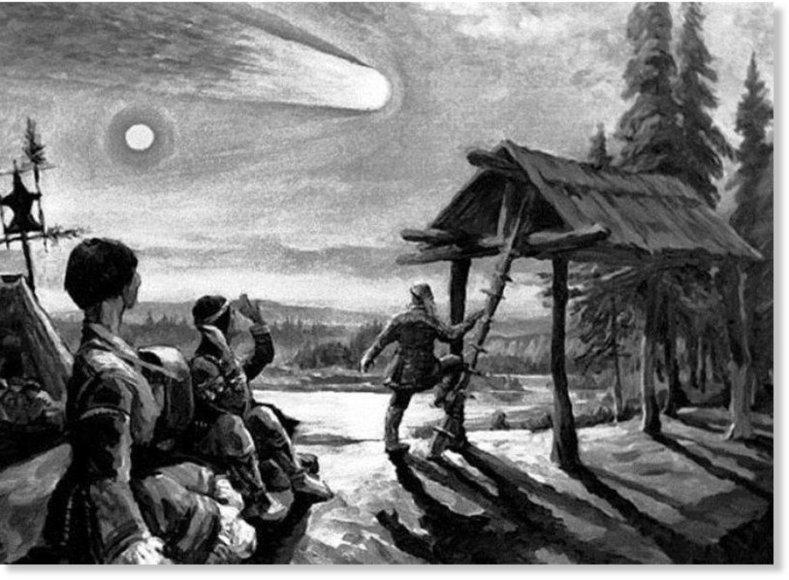 Piešinyje – neįprastą reiškinį virš taigos stebintys Vanavaros faktorijos gyventojai./ Iliustracijos šaltinis: www.sott.net.