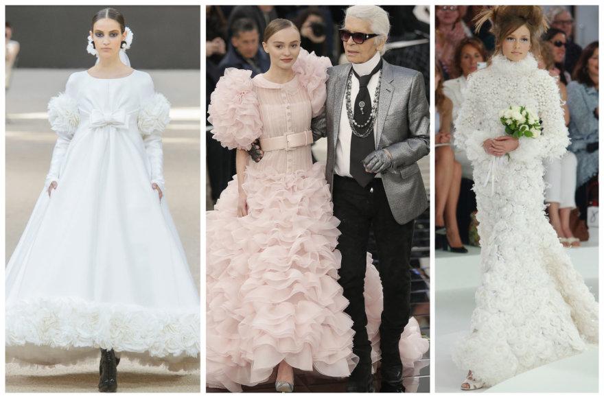 Iš kairės: Camille Hurel, Lily Rose Depp ir Karlas Lagerfeldas