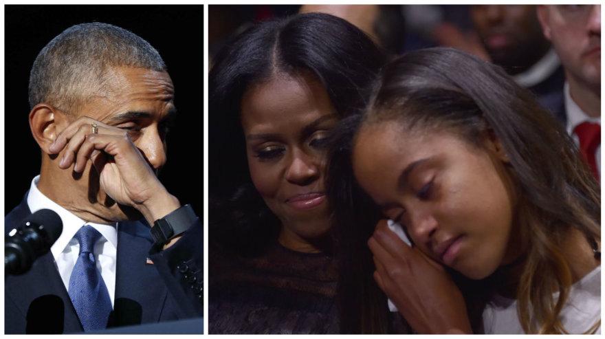 Su prezidento kadencija atsisveikinantis Barackas Obama pagerbė savo šeimą: ašarojo ir pats, ir dukra