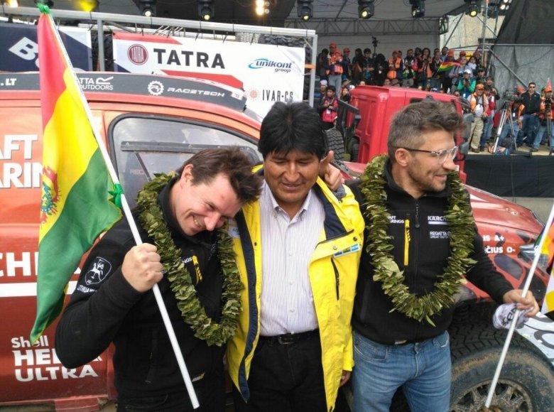 Antanas Juknevičius ir Darius Vaičiulis su Bolivijos prezidentu Evo Moralesu