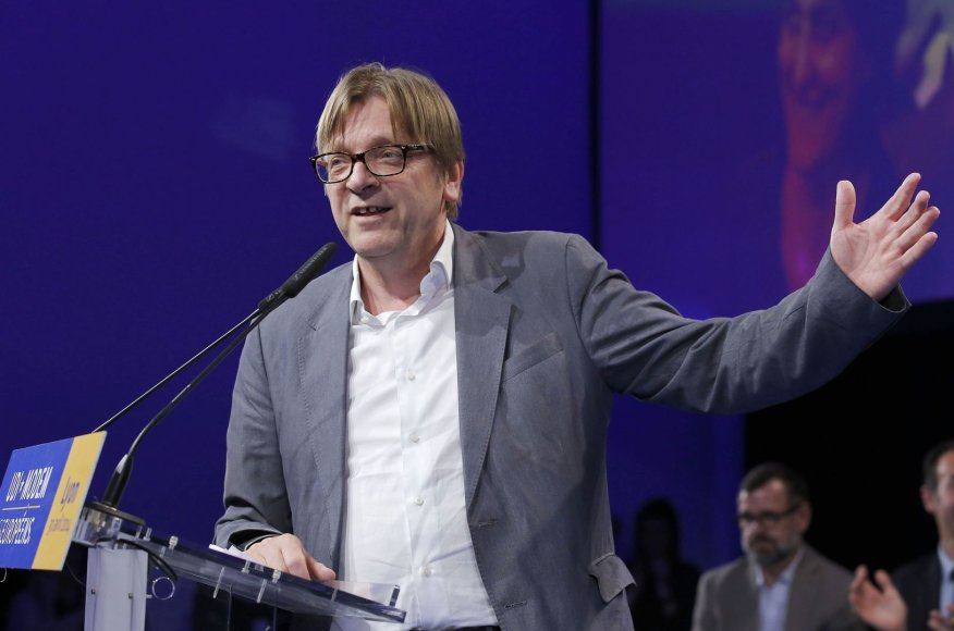 """Liberalų ir demokratų aljanso """"Už Europą"""" kandidatas, buvęs Belgijos premjeras Guy Verhofstadtas"""