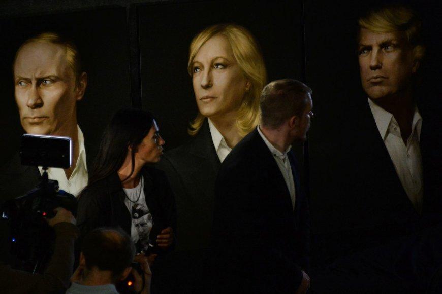 Vladimiro Putino, Marine Le Pen ir Donaldo Trumpo portretai