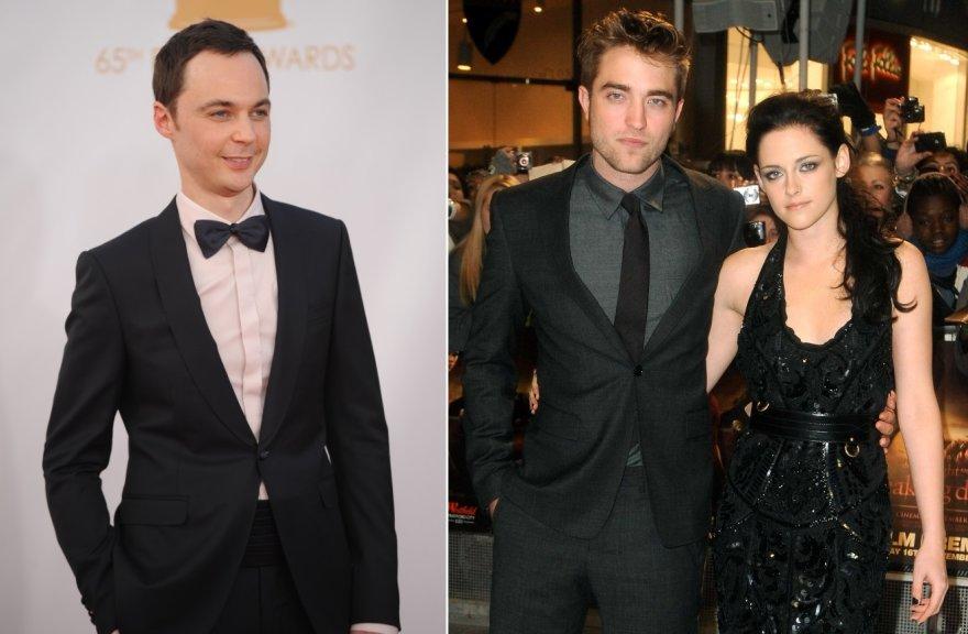 Jimas Parsonsas ir Robertas Pattinsonas su Kristen Stewart